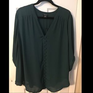 Turquoise green button front blouse from Torrid